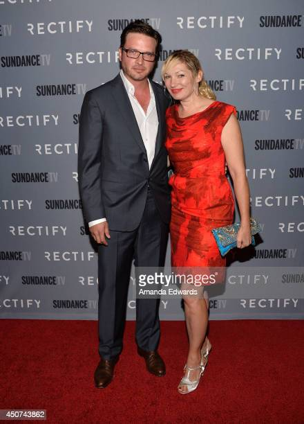 Actor Aden Young and Loene Carmen arrive at the SundanceTV Series 'Rectify' Season 2 Premiere at the Sundance Sunset Cinema on June 16 2014 in Los...