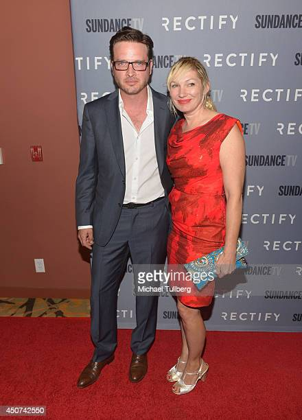 Actor Aden Young and singer Loene Carmen attend Sundance TV's Season 2 premiere of 'RECTIFY' at Sundance Sunset Cinema on June 16 2014 in Los Angeles...