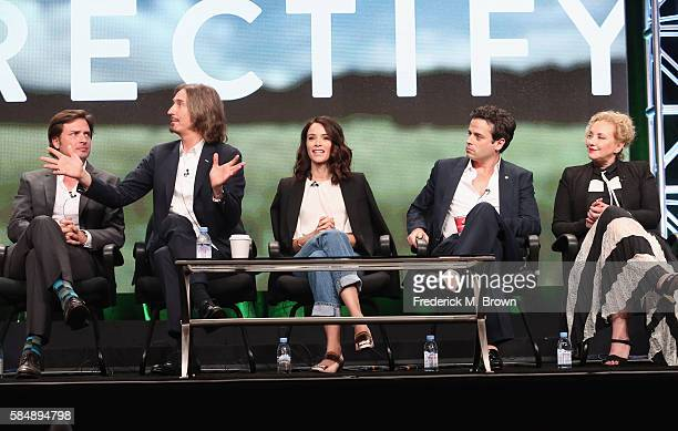 Actor Aden Young Creator/executive producer/writer/director Ray McKinnon actors Abigail Spencer Luke Kirby and J SmithCameron speak onstage during...