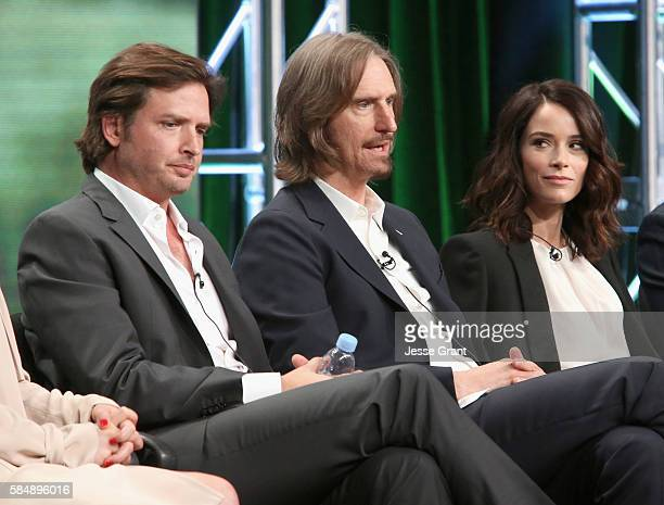 Actor Aden Young Creator/executive producer/writer/director Ray McKinnon and actress Abigail Spencer speak onstage during the 'Rectify' panel...