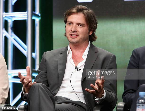 Actor Aden Young speaks onstage during the 'Rectify' panel discussion at the SundanceTV portion of the 2016 Television Critics Association Summer...