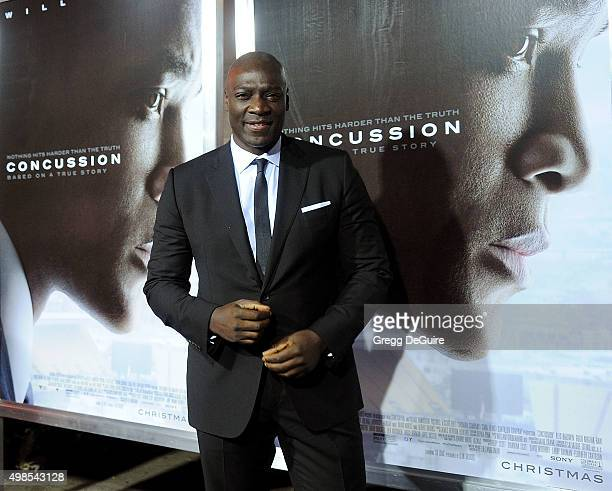 Actor Adewale AkinnuoyeAgbaje arrives at the screening of Columbia Pictures' Concussion at Regency Village Theatre on November 23 2015 in Westwood...