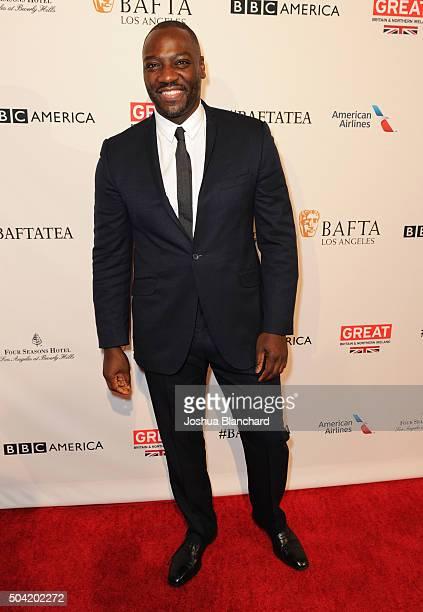 Actor Adewale AkinnuoyeAgbaje attends the BAFTA Los Angeles Awards Season Tea at Four Seasons Hotel Los Angeles at Beverly Hills on January 9 2016 in...