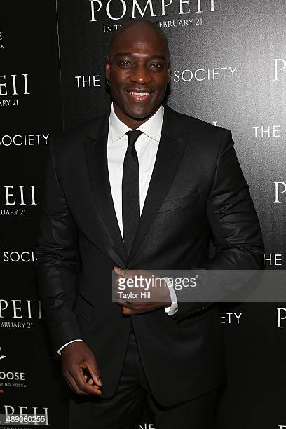 Actor Adewale AkinnuoyeAgbaje attends the Pompeii screening hosted by TriStar Pictures with the Cinema Society and Grey Goose at Crosby Street Hotel...
