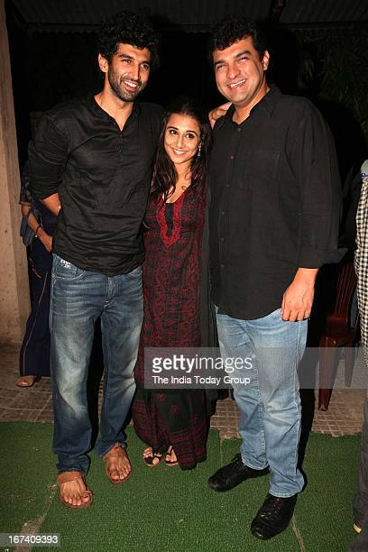 Actor Aditya Roy Kapoor Actress Vidya Balan and Producer Siddharth Roy Kapoor at screening of Aashiqui 2 in Mumbai on 24th April 2013