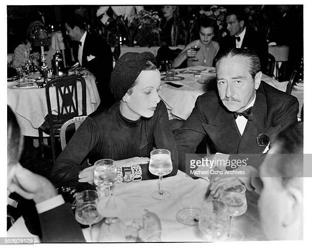 Actor Adolphe Menjou and actress Hedy Lamarr attend an event in Los Angeles California