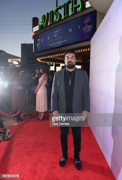 Actor Adrian Dev attends the Los Angeles premiere of Neon's 'Gemini' at the Vista Theatre on March 15 2018 in Los Angeles California