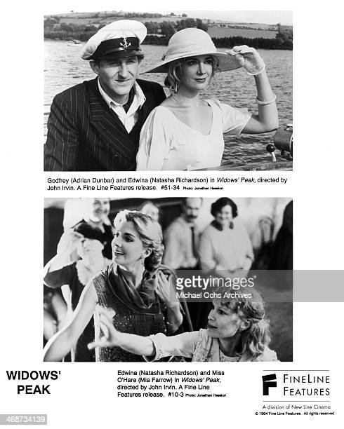 Actor Adrian Dunbar and Natasha Richardson on set actresses Natasha Richardson and Mia Farrow on set of the Fine Line Features movie 'Widows' Peak'...