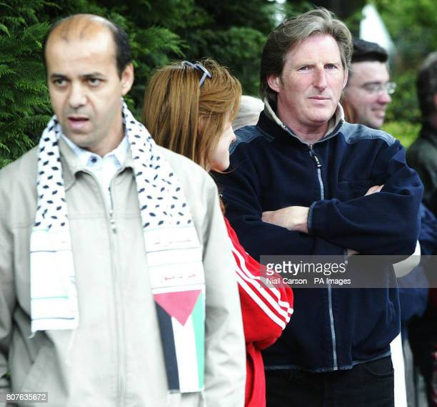 Actor Adrian Dunbar joins protestors gather outside the Israeli Embassy in Dublin in response to the deaths of up to 15 people who were reportedly...