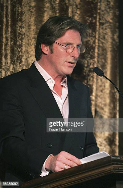 Actor Adrian Dunbar speaks on stage at the USIreland Alliance 'Oscar Wilde Honoring Irish Writing in Film event held at the Ebell Club of Los angeles...
