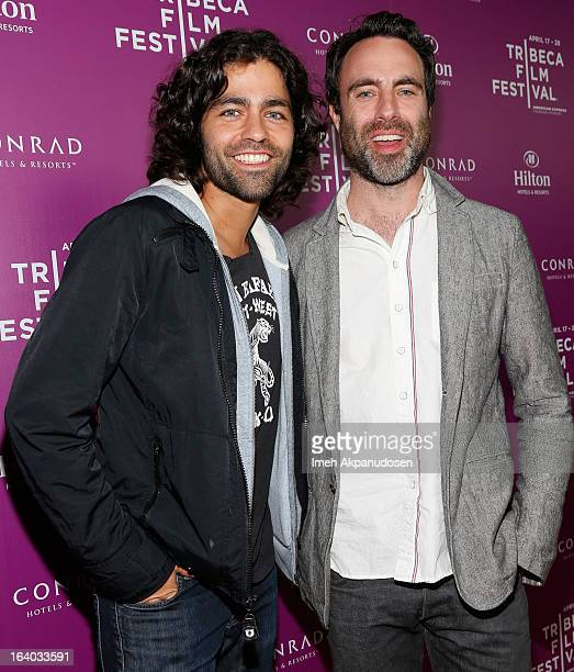 Actor Adrian Grenier and director Matthew Cooke attend the 2013 Tribeca Film Festival LA Reception at The Beverly Hilton Hotel on March 18 2013 in...