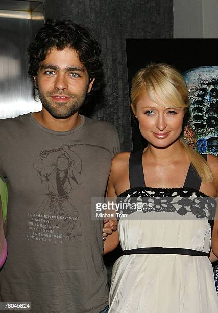 Actor Adrian Grenier and Socialite Paris Hilton arrives at the 11th Hour Screening at Harmony Gold Theater on August 9 2007 in Hollywood California