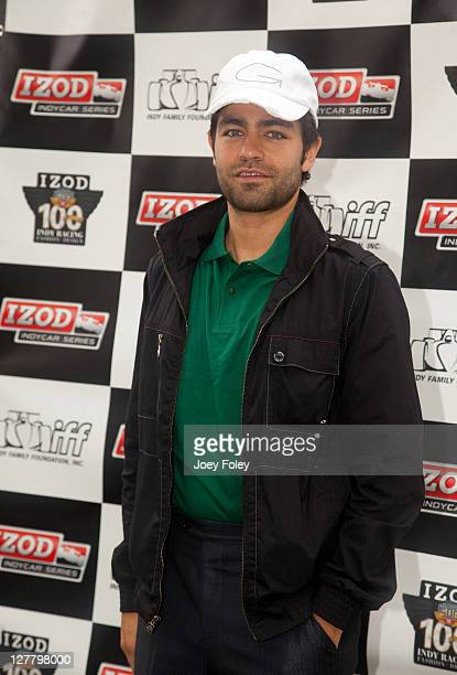 Actor Adrian Grenier attends the celebrity golf tournament during the 100th Anniversary Indianapolis 500 at Indianapolis Motor Speedway on May 28...