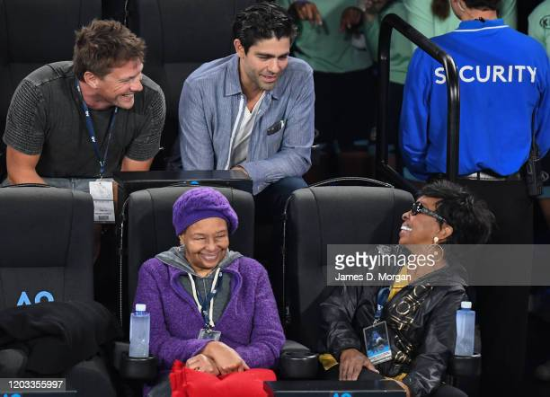 Actor Adrian Grenier chats with Gladys Knight as they attend day 13 of the 2020 Australian Open at Melbourne Park on February 01, 2020 in Melbourne,...
