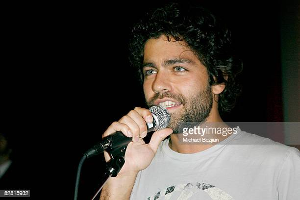 """Actor Adrian Grenier does karaoke at The Media Mayhem Client Appreciation Party With The Cast of HBO's """"Entourage"""" at The Stork on September 14, 2008..."""