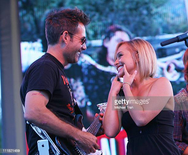 Actor Adrian Pasdar and Actress Hayden Panettiere perform on stage at the 'Netflix Live On Location' concert series featuring 'The Band From TV' held...