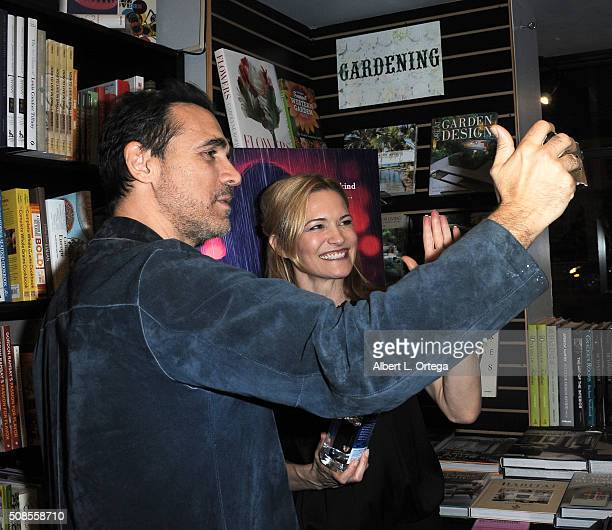 Actor Adrian Paul and actress Victoria Pratt at Victoria Pratt's Book Signing For 'Double Down' held at Book Soup on February 4 2016 in West...