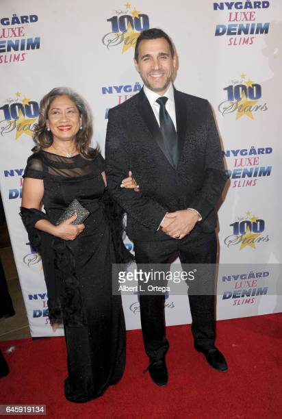 Actor Adrian Paul and wife arrive for the Norby Walters' 27th Annual Night Of 100 Stars Black Tie Dinner Viewing Gala held at The Beverly Hilton...