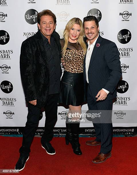 Actor Adrian Zmed singer Lyssa Lynne and entertainer Mark Shunock arrive at Mondays Dark with Mark Shunock Benefiting Vegas Shepherd Rescue Vinyl...