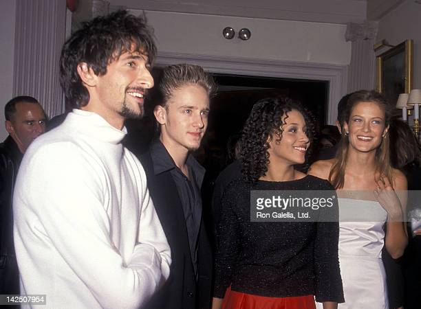 Actor Adrien Brody actor Ben Foster actress Rebekah Johnson and model Carolyn Murphy attend the 'Liberty Heights' PrePremiere Dinner Party on...