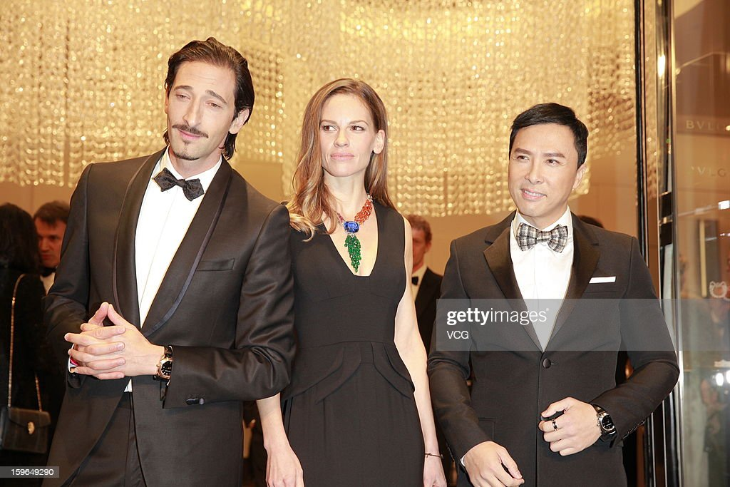 Actor Adrien Brody, actress Hilary Swank and actor Donnie Yen attend Bulgari store opening reception on January 17, 2013 in Hong Kong, Hong Kong.