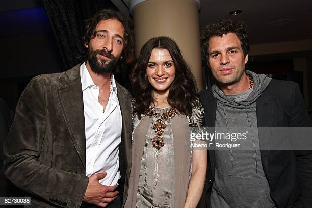 Actor Adrien Brody actress Rachel Weisz and actor Mark Ruffalo arrive at the The Brothers Bloom premiere during the 2008 Toronto International Film...