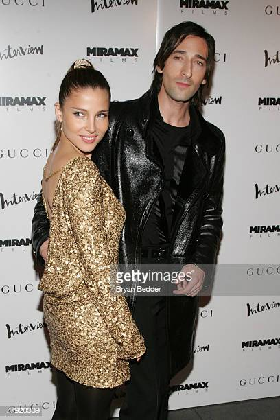 """Actor Adrien Brody and his girlfreind Elsa Pataky arrives at the premiere of """"The Diving Bell And The Butterfly"""" at the Ziegfeld Theater on November..."""