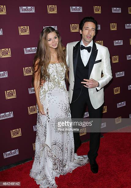 Actor Adrien Brody and Lara Leito attend the 21st Century Fox and Fox Searchlight Oscar Party at BOA Steakhouse on February 22 2015 in West Hollywood...