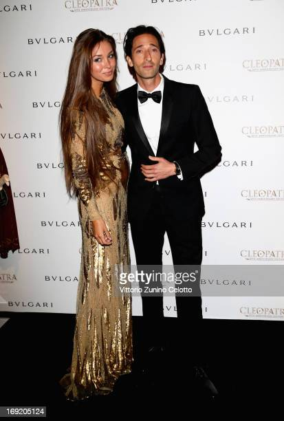 Actor Adrien Brody and Lara Leito attend the 'Cleopatra' cocktail hosted by Bulgari during The 66th Annual Cannes Film Festival at JW Marriott on May...