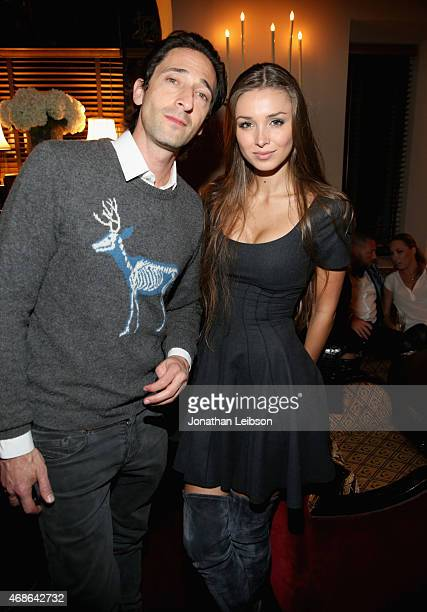Actor Adrien Brody and model Lara Leito attend the Variety and Formula E Hollywood Gala at Chateau Marmont on April 4 2015 in Los Angeles California
