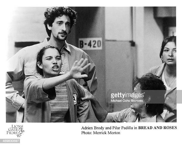 Actor Adrien Brody and Pilar Padilla on set of the movie Bread and Roses circa 2000