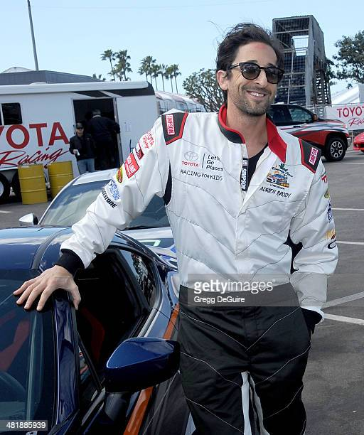 Actor Adrien Brody arrives at press day for the 2014 Toyota Pro/Celebrity Race on April 1 2014 in Long Beach California