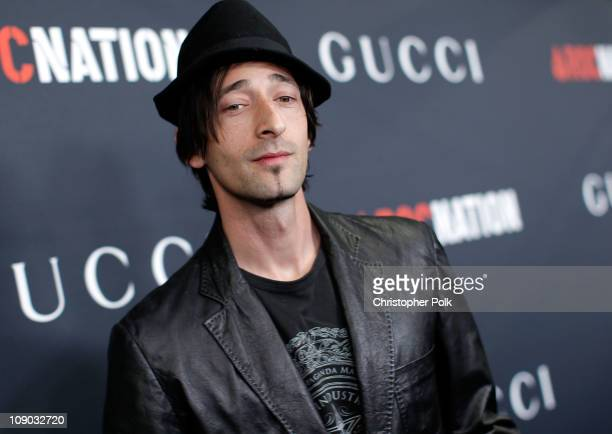 Actor Adrien Brody arrives at the Gucci and RocNation PreGRAMMY brunch held at Soho House on February 12 2011 in West Hollywood California