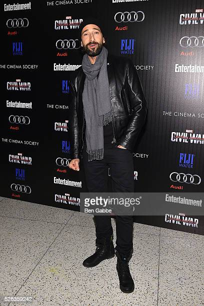 Actor Adrien Brody attends a screening of Marvel's 'Captain America Civil War' hosted by The Cinema Society with Audi FIJI on May 04 2016 in New York...