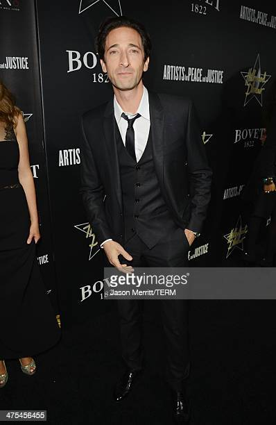 Actor Adrien Brody attends the 7th Annual Hollywood Domino and Bovet 1822 Gala benefiting artists for peace and justice at Sunset Tower on February...