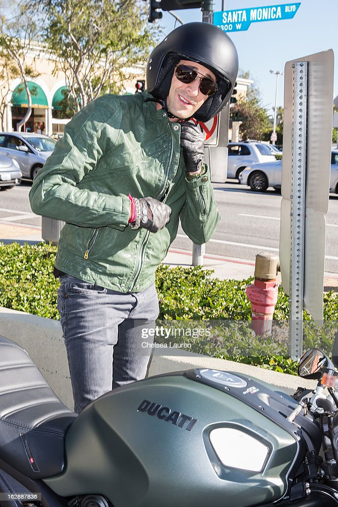 Actor Adrien Brody is seen riding the Ducati Monster Diesel on February 28, 2013 in Los Angeles, California.