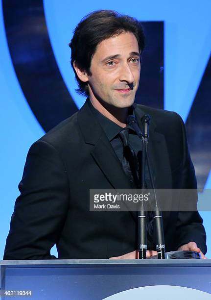 Actor Adrien Brody speaks onstage during the 26th Annual Producers Guild Of America Awards at the Hyatt Regency Century Plaza on January 24 2015 in...