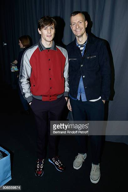 Actor Adrien Dantou and Stylist Lucas Ossendrijver attend the Lanvin Menswear Fall/Winter 2016-2017 show as part of Paris Fashion Week on January 24,...