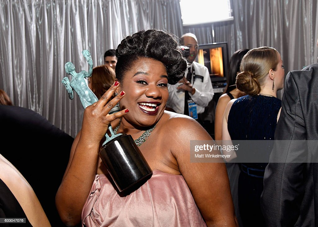 Actor Adrienne C. Moore , winner of the Outstanding Ensemble in a Comedy Series award of 'Orange Is the New Black,' pose in the press room during The 23rd Annual Screen Actors Guild Awards at The Shrine Auditorium on January 29, 2017 in Los Angeles, California. 26592_017