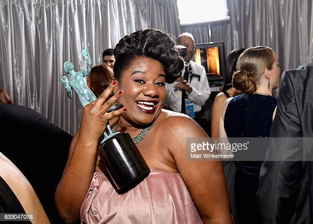 Actor Adrienne C Moore winner of the Outstanding Ensemble in a Comedy Series award of 'Orange Is the New Black' pose in the press room during The...