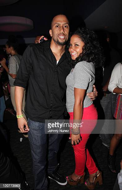 Actor Affion Crockett and radio personality Angela Yee attend Bottles and Strikes Affion Crockett Edition at the Chelsea Piers Sports Center on...