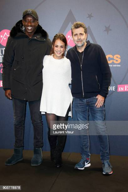 Actor Ahmed Sylla Actress Alice Belaidi and Director Ludovic Bernard attend Opening Ceremony during the 21st L'Alpe D'Huez Comedy Film Festival on...