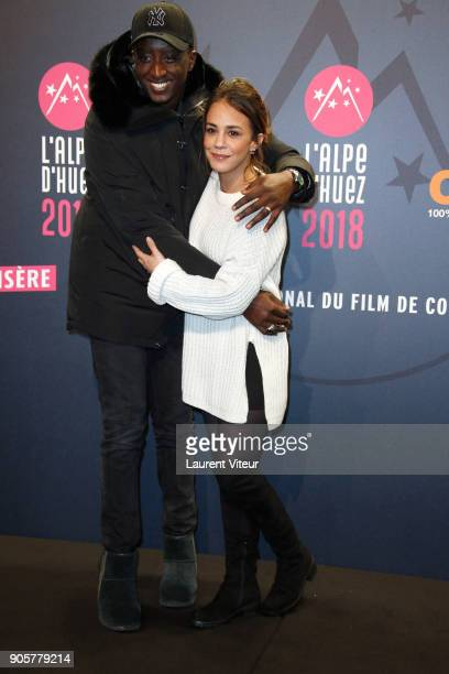 Actor Ahmed Sylla and Actress Alice Belaidi attend Opening Ceremony during the 21st L'Alpe D'Huez Comedy Film Festival on January 16 2018 in Alpe...