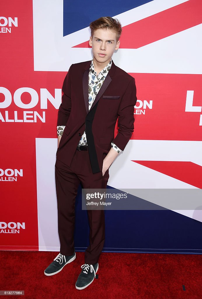 Actor Aidan Alexander attends the premiere of Focus Features' 'London Has Fallen' held at ArcLight Cinemas Cinerama Dome on March 1, 2016 in Hollywood, California.