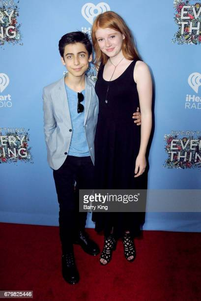 Actor Aidan Gallagher and actress Hannah McCloud attend screening of Warner Bros Pictures' 'Everything Everything' at TCL Chinese Theatre on May 6...