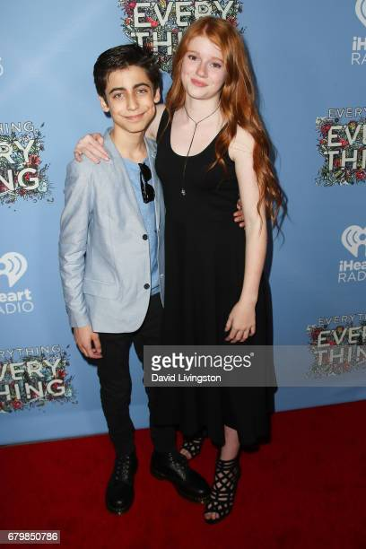 Actor Aidan Gallagher and Hannah McCloud attend the screening of Warner Bros Pictures' Everything Everything at the TCL Chinese Theatre on May 6 2017...