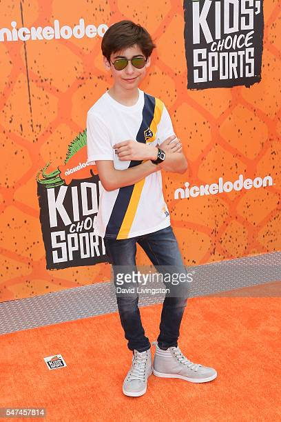 Actor Aidan Gallagher arrives at the Nickelodeon Kids' Choice Sports Awards 2016 at the UCLA's Pauley Pavilion on July 14 2016 in Westwood California