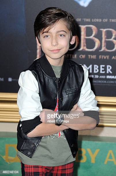Actor Aidan Gallagher arrives for Premiere Of New Line Cinema MGM Pictures And Warner Bros Pictures' The Hobbit The Battle Of The Five Armies held at...