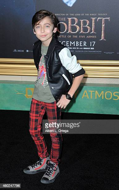 Actor Aidan Gallagher arrives for Premiere Of New Line Cinema MGM Pictures And Warner Bros Pictures' 'The Hobbit The Battle Of The Five Armies' held...