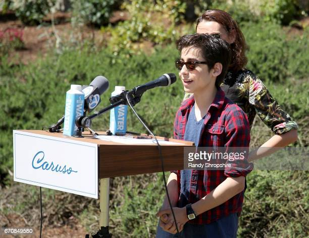 Actor Aidan Gallagher attends Caruso hosts a community garden in honor of Earth Day in partnership with Environmental Media Association Kellogg...